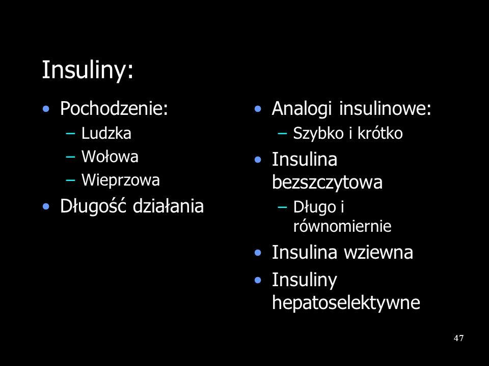 47 Insuliny: Pochodzenie: –Ludzka –Wołowa –Wieprzowa Długość działania Analogi insulinowe: –Szybko i krótko Insulina bezszczytowa –Długo i równomierni