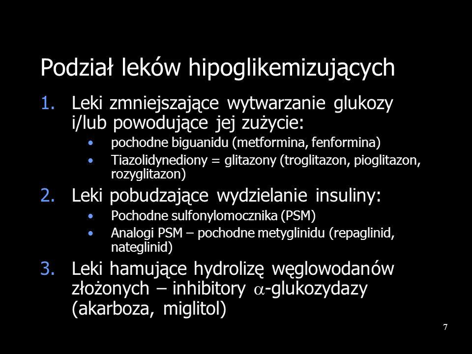 7 Podział leków hipoglikemizujących 1.Leki zmniejszające wytwarzanie glukozy i/lub powodujące jej zużycie: pochodne biguanidu (metformina, fenformina)
