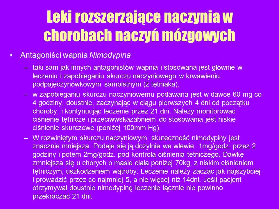 Antagoniści wapnia Nimodypina –taki sam jak innych antagonist ó w wapnia i stosowana jest gł ó wnie w leczeniu i zapobieganiu skurczu naczyniowego w k