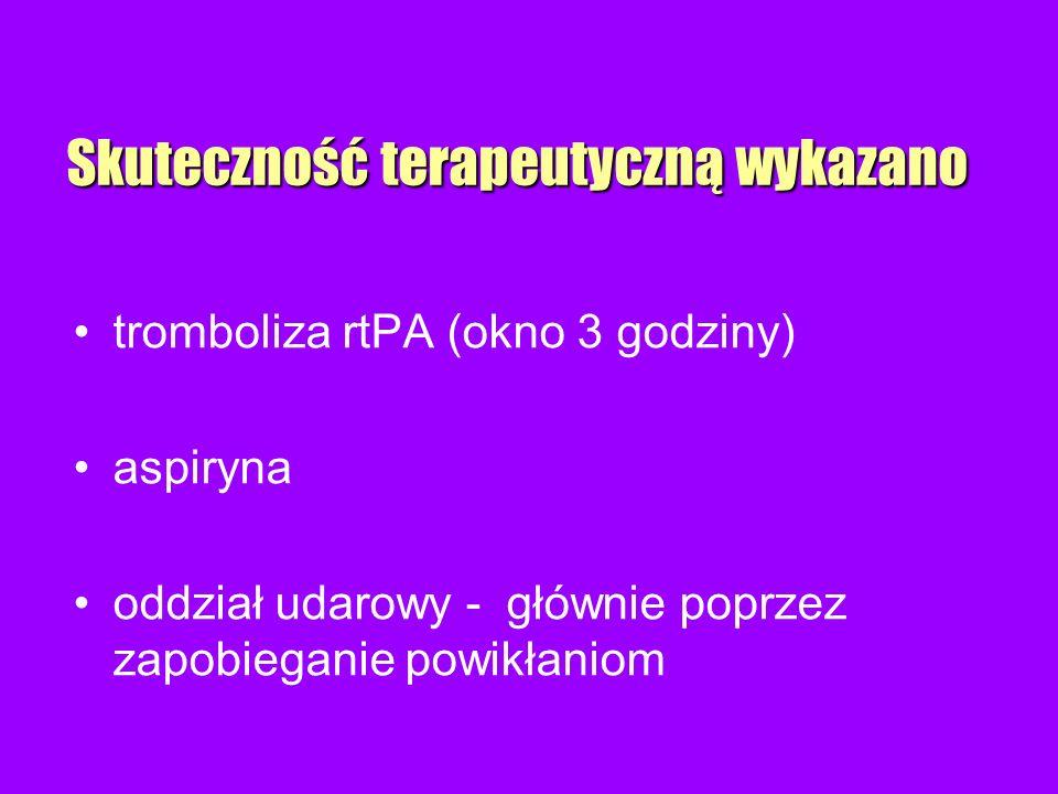 Skuteczność terapeutyczną wykazano tromboliza rtPA (okno 3 godziny) aspiryna oddział udarowy - głównie poprzez zapobieganie powikłaniom