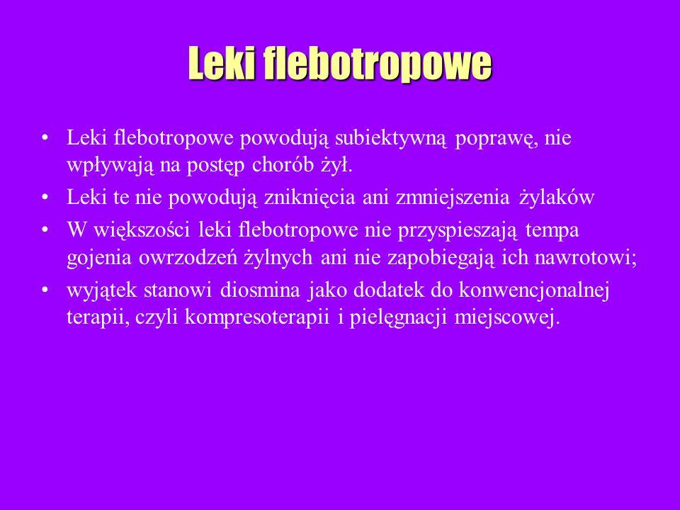 Leki flebotropowe Leki flebotropowe powodują subiektywną poprawę, nie wpływają na postęp chorób żył. Leki te nie powodują zniknięcia ani zmniejszenia