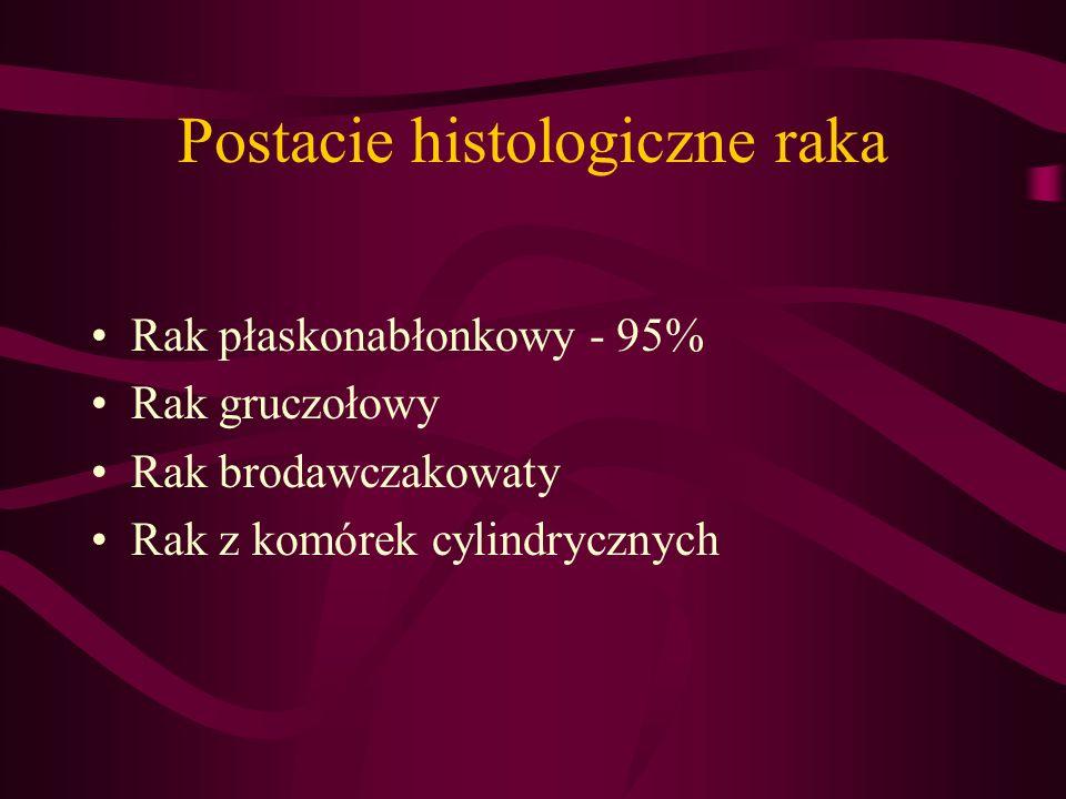 Postacie histologiczne raka Rak płaskonabłonkowy - 95% Rak gruczołowy Rak brodawczakowaty Rak z komórek cylindrycznych