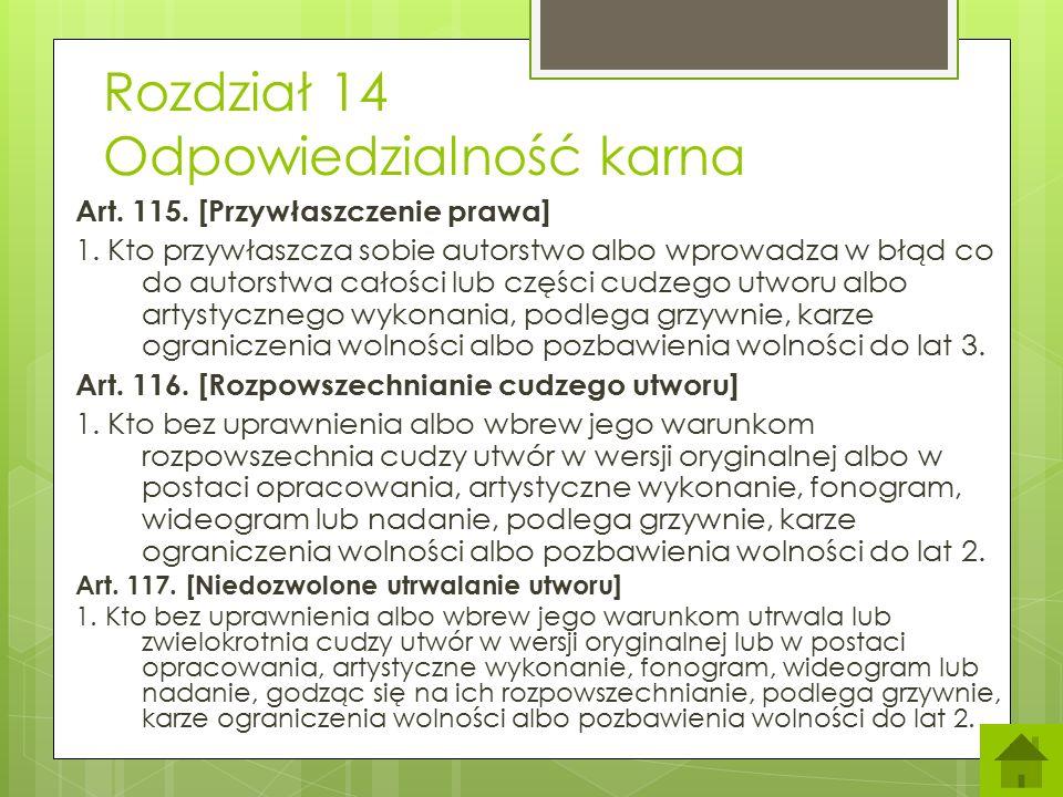 Rozdział 14 Odpowiedzialność karna Art.115. [Przywłaszczenie prawa] 1.