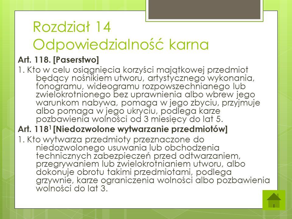 Rozdział 14 Odpowiedzialność karna Art.118. [Paserstwo] 1.