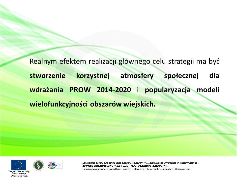 W odniesieniu do celu głównego Strategii można wyodrębnić następujące cele szczegółowe: zwiększenie poziomu wiedzy ogólnej i szczegółowej dotyczącej PROW 2014-2020, w tym zapewnienie informacji dotyczących warunków i trybu przyznawania pomocy, dla potencjalnych beneficjentów w zakresie praktycznej wiedzy i umiejętności o sposobie przygotowania wniosków, biznesplanów oraz dla beneficjentów w zakresie przygotowania wniosków o płatność, uwidocznienie roli Wspólnoty we współfinansowaniu rozwoju obszarów wiejskich, zbudowanie i utrzymanie wysokiej rozpoznawalności EFRROW i PROW 2014-2020 na tle innych programów oraz funduszy europejskich, zmiana w świadomości mieszkańców kraju funkcjonowania PROW jako programu głównie lub wyłącznie wspierającego rolników/rolnictwo, poszerzenie grupy zainteresowanych PROW, dotarcie z przekazem do grup nastawionych niechętnie lub krytycznie do FE (w tym PROW), przełamanie negatywnych stereotypów dotyczących życia na obszarach wiejskich.