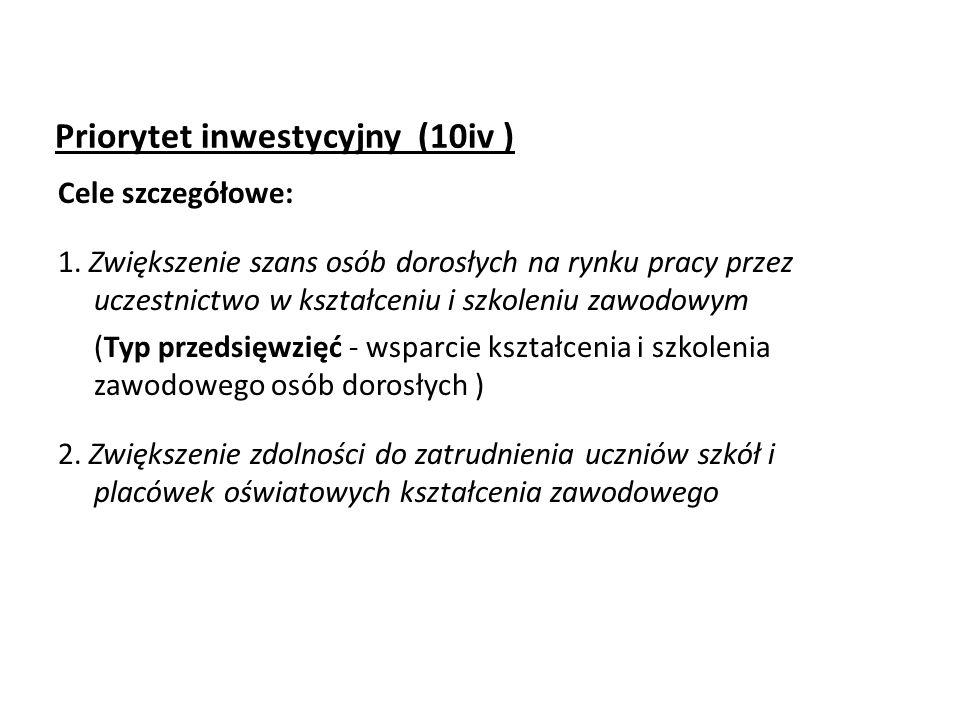 Priorytet inwestycyjny (10iv ) Cele szczegółowe: 1.