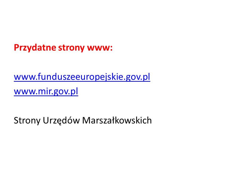 Przydatne strony www: www.funduszeeuropejskie.gov.pl www.mir.gov.pl Strony Urzędów Marszałkowskich