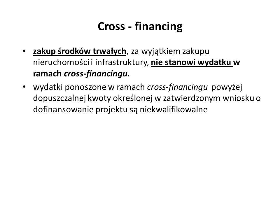 Cross - financing zakup środków trwałych, za wyjątkiem zakupu nieruchomości i infrastruktury, nie stanowi wydatku w ramach cross-financingu.