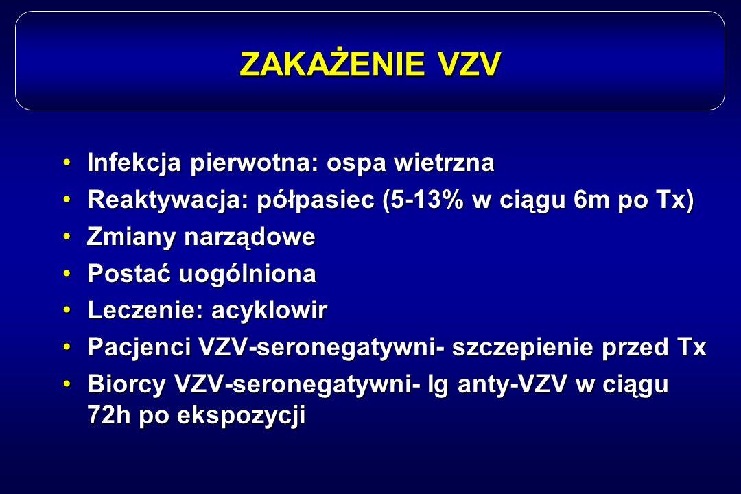 ZAKAŻENIE VZV Infekcja pierwotna: ospa wietrznaInfekcja pierwotna: ospa wietrzna Reaktywacja: półpasiec (5-13% w ciągu 6m po Tx)Reaktywacja: półpasiec