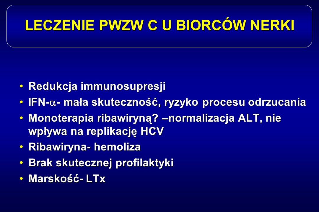 LECZENIE PWZW C U BIORCÓW NERKI Redukcja immunosupresjiRedukcja immunosupresji IFN-  - mała skuteczność, ryzyko procesu odrzucaniaIFN-  - mała skute