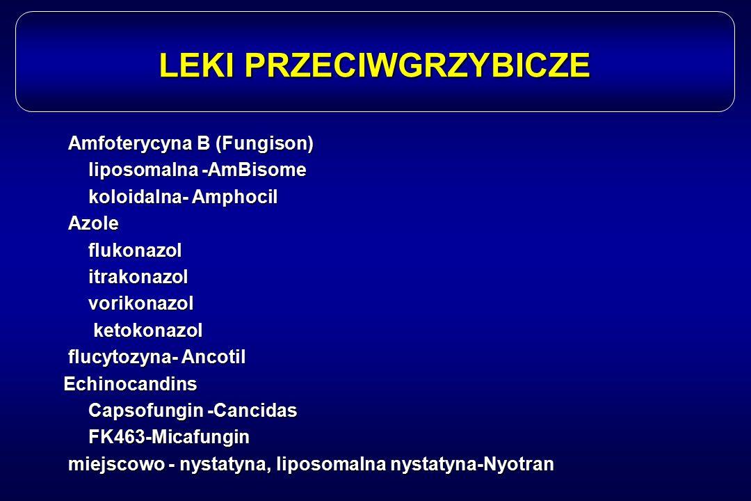 LEKI PRZECIWGRZYBICZE Amfoterycyna B (Fungison) Amfoterycyna B (Fungison) liposomalna -AmBisome koloidalna- Amphocil Azole Azoleflukonazol itrakonazol