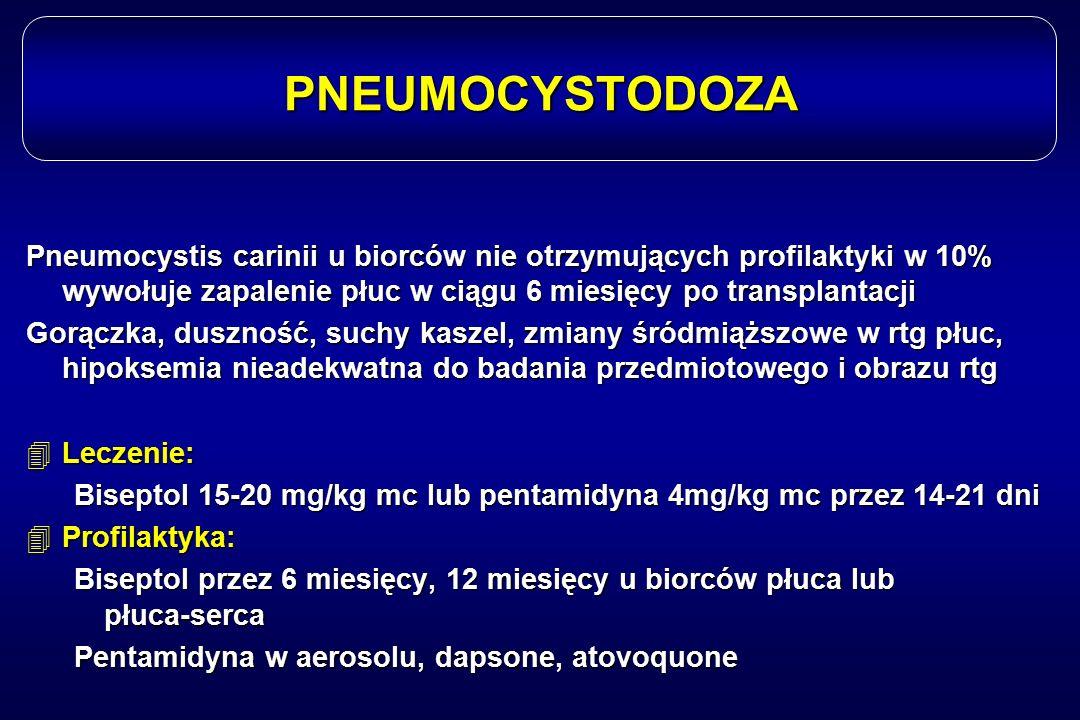 PNEUMOCYSTODOZA Pneumocystis carinii u biorców nie otrzymujących profilaktyki w 10% wywołuje zapalenie płuc w ciągu 6 miesięcy po transplantacji Gorąc
