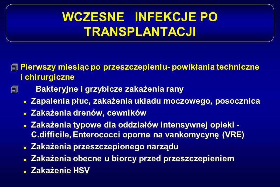 WCZESNE INFEKCJE PO TRANSPLANTACJI 4Pierwszy miesiąc po przeszczepieniu- powikłania techniczne i chirurgiczne 4Bakteryjne i grzybicze zakażenia rany l