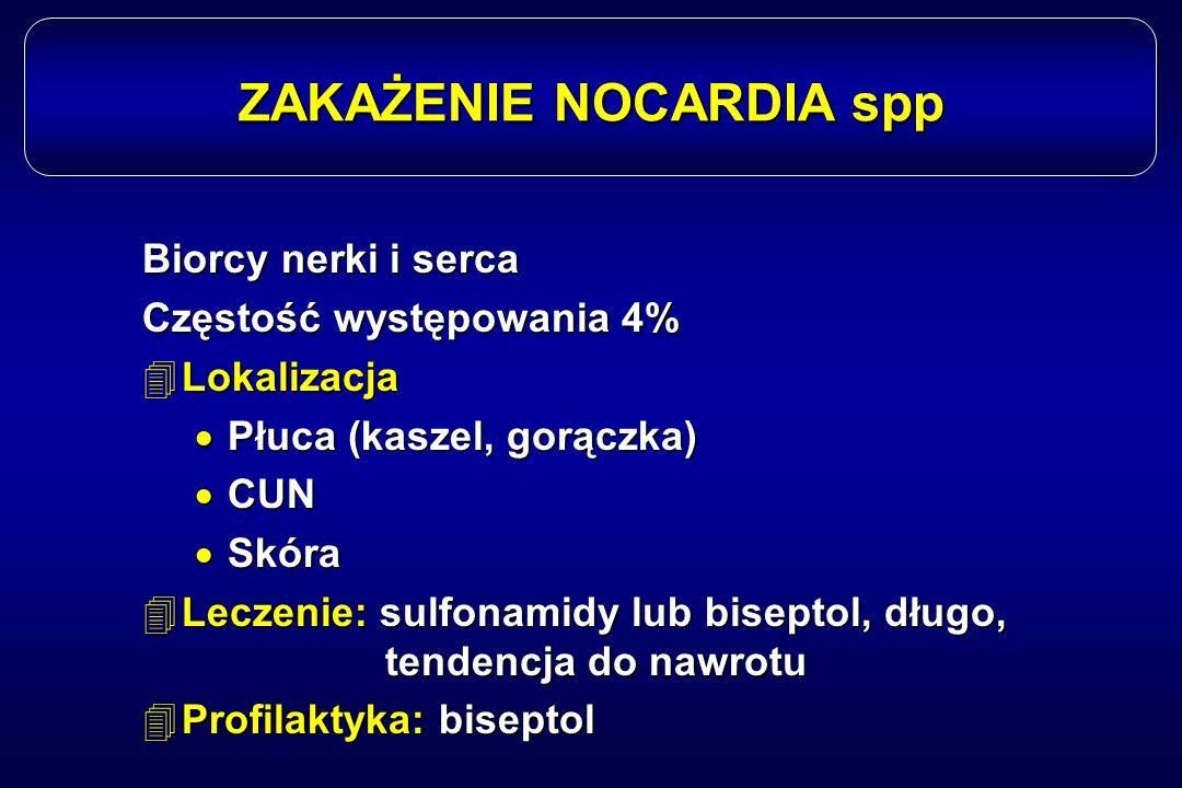 ZAKAŻENIE NOCARDIA spp Biorcy nerki i serca Częstość występowania 4% 4Lokalizacja  Płuca (kaszel, gorączka)  CUN  Skóra 4Leczenie: sulfonamidy lub