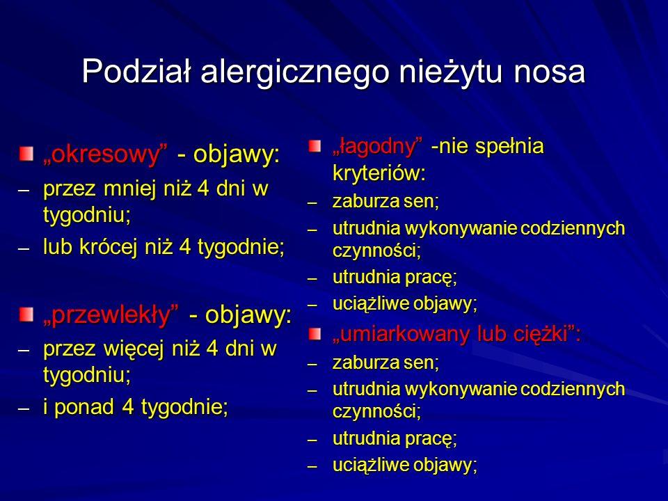 """Podział alergicznego nieżytu nosa """"okresowy"""" - objawy: – przez mniej niż 4 dni w tygodniu; – lub krócej niż 4 tygodnie; """"przewlekły"""" - objawy: – przez"""