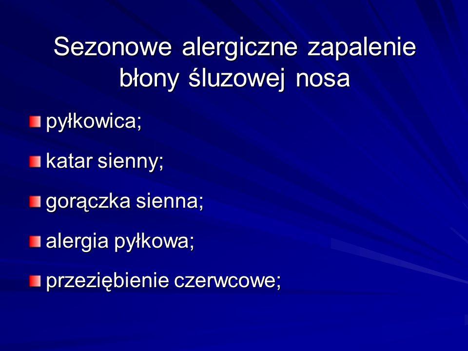 Sezonowe alergiczne zapalenie błony śluzowej nosa pyłkowica; katar sienny; gorączka sienna; alergia pyłkowa; przeziębienie czerwcowe;