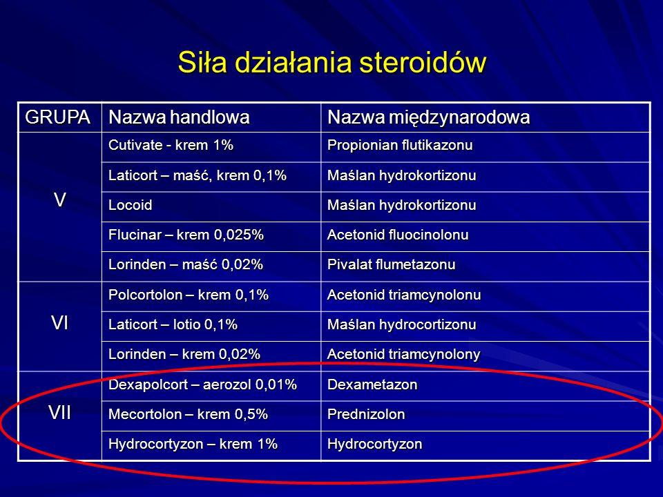 Siła działania steroidów GRUPA Nazwa handlowa Nazwa międzynarodowa V Cutivate - krem 1% Propionian flutikazonu Laticort – maść, krem 0,1% Maślan hydro