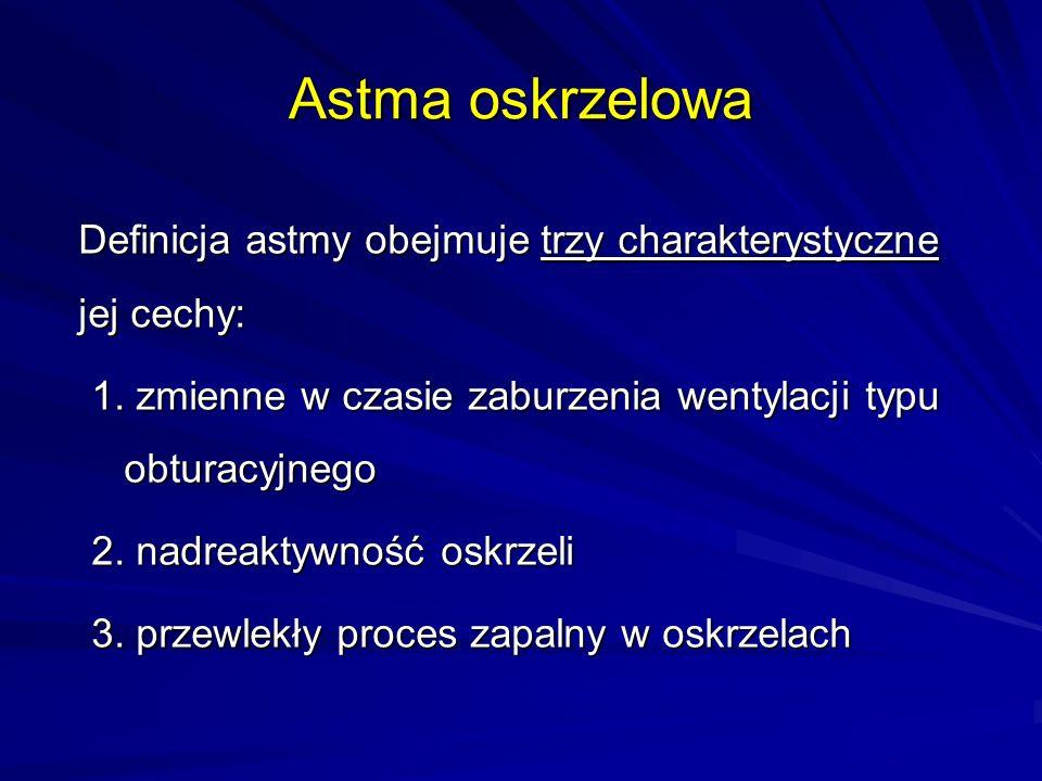 Astma oskrzelowa Definicja astmy obejmuje trzy charakterystyczne jej cechy: 1. zmienne w czasie zaburzenia wentylacji typu obturacyjnego 2. nadreaktyw