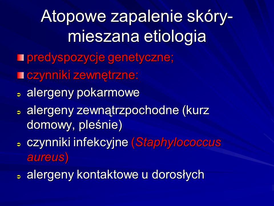 Atopowe zapalenie skóry- mieszana etiologia predyspozycje genetyczne; czynniki zewnętrzne:  alergeny pokarmowe  alergeny zewnątrzpochodne (kurz domo