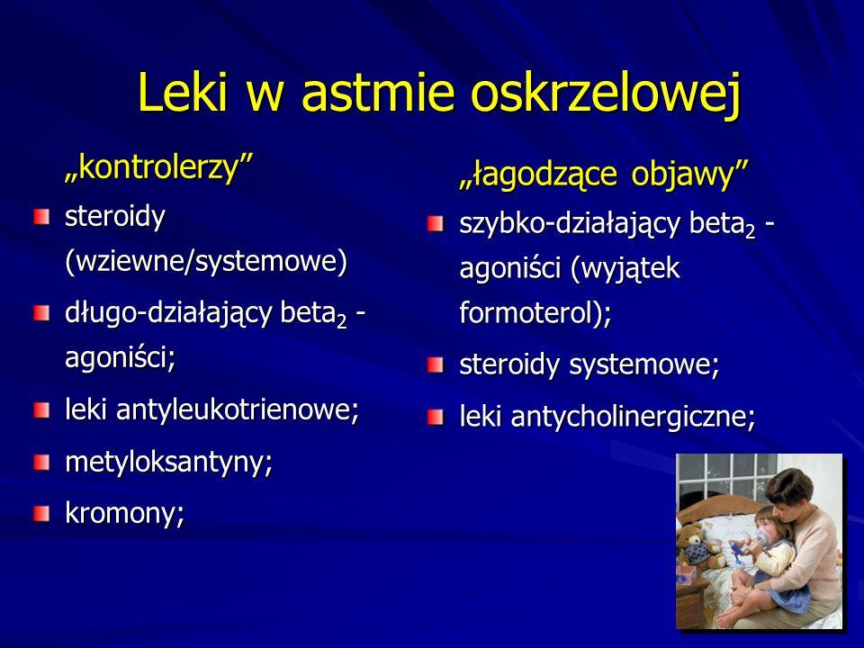 """Leki w astmie oskrzelowej """"kontrolerzy"""" steroidy (wziewne/systemowe) długo-działający beta 2 - agoniści; leki antyleukotrienowe; metyloksantyny;kromon"""