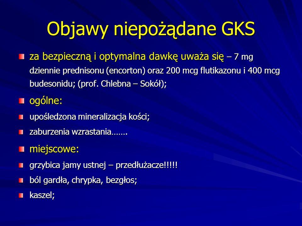 Objawy niepożądane GKS za bezpieczną i optymalna dawkę uważa się – 7 mg dziennie prednisonu (encorton) oraz 200 mcg flutikazonu i 400 mcg budesonidu;