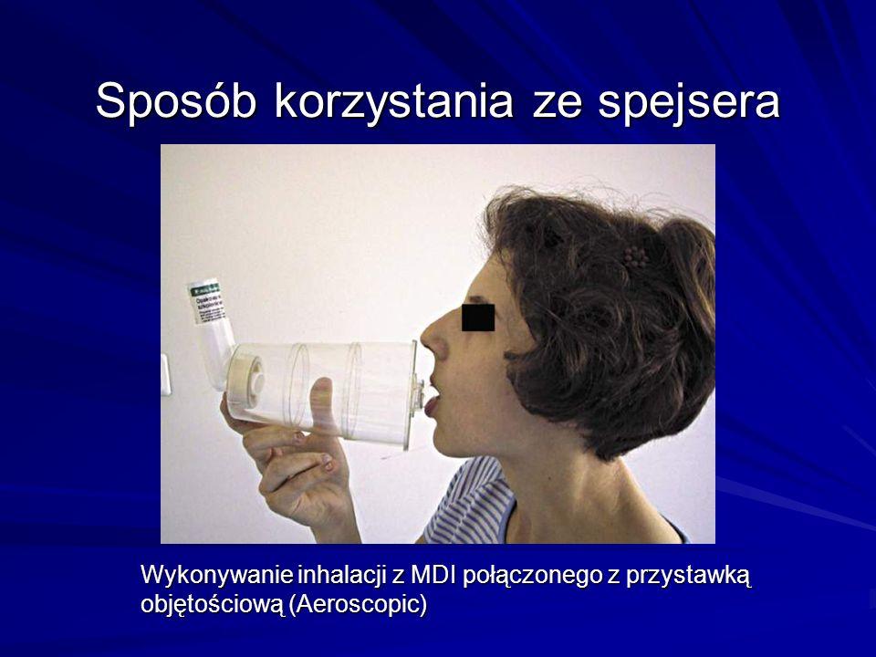 Sposób korzystania ze spejsera Wykonywanie inhalacji z MDI połączonego z przystawką objętościową (Aeroscopic)