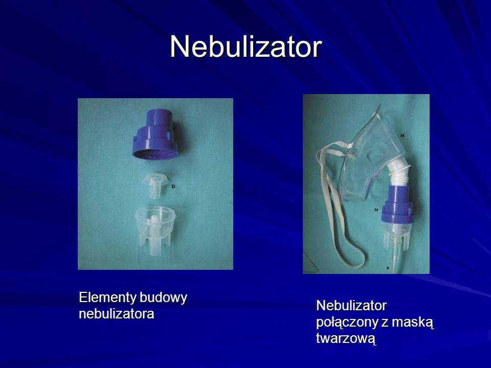 Nebulizator Elementy budowy nebulizatora Nebulizator połączony z maską twarzową