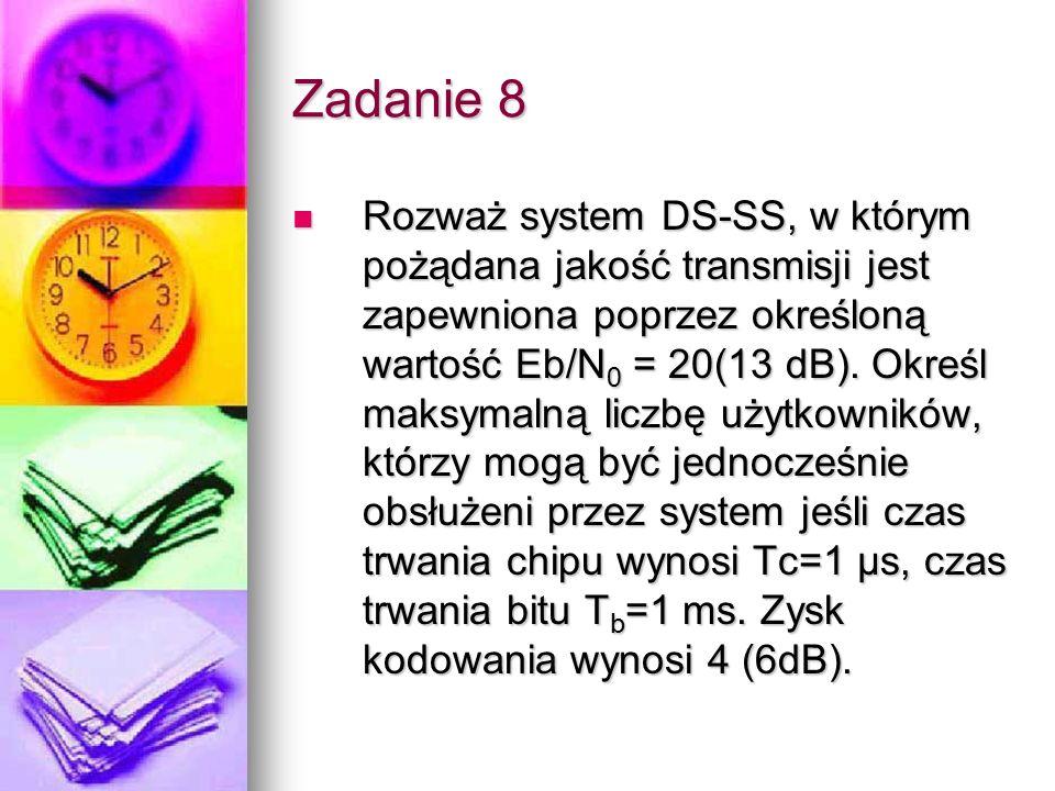 Zadanie 8 Rozważ system DS-SS, w którym pożądana jakość transmisji jest zapewniona poprzez określoną wartość Eb/N 0 = 20(13 dB). Określ maksymalną lic