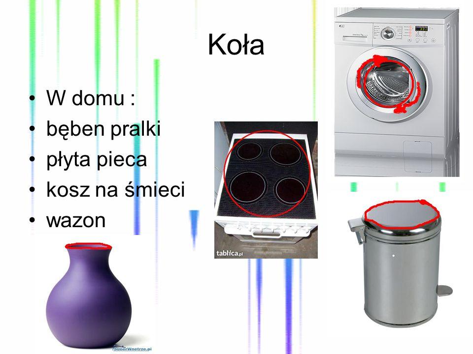 Koła W domu : bęben pralki płyta pieca kosz na śmieci wazon