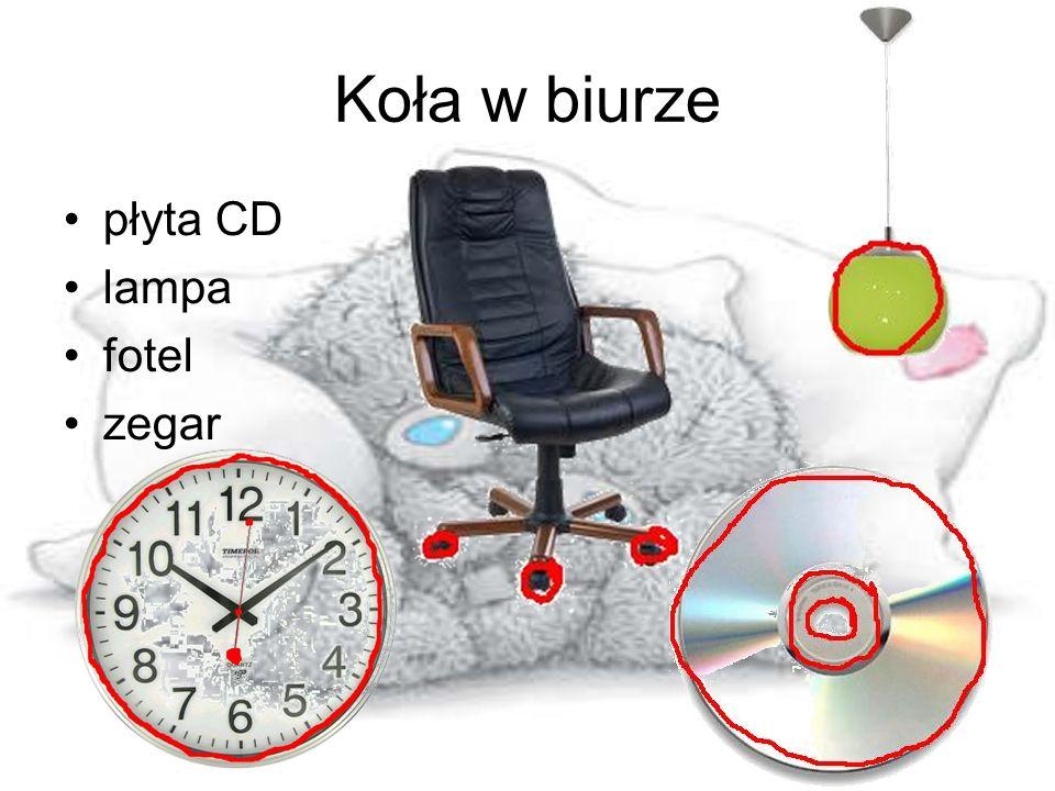 Koła w biurze płyta CD lampa fotel zegar