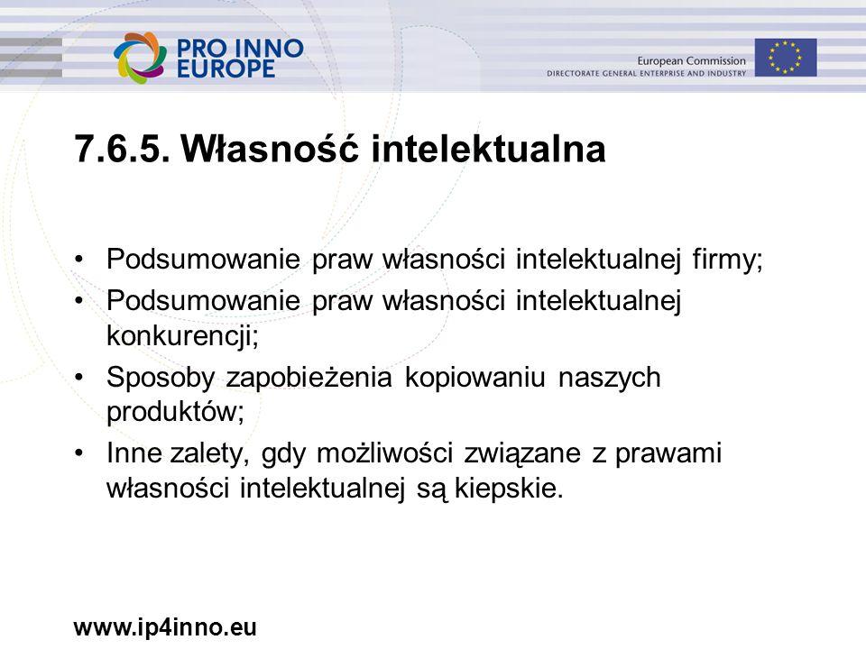 www.ip4inno.eu 7.6.5. Własność intelektualna Podsumowanie praw własności intelektualnej firmy; Podsumowanie praw własności intelektualnej konkurencji;