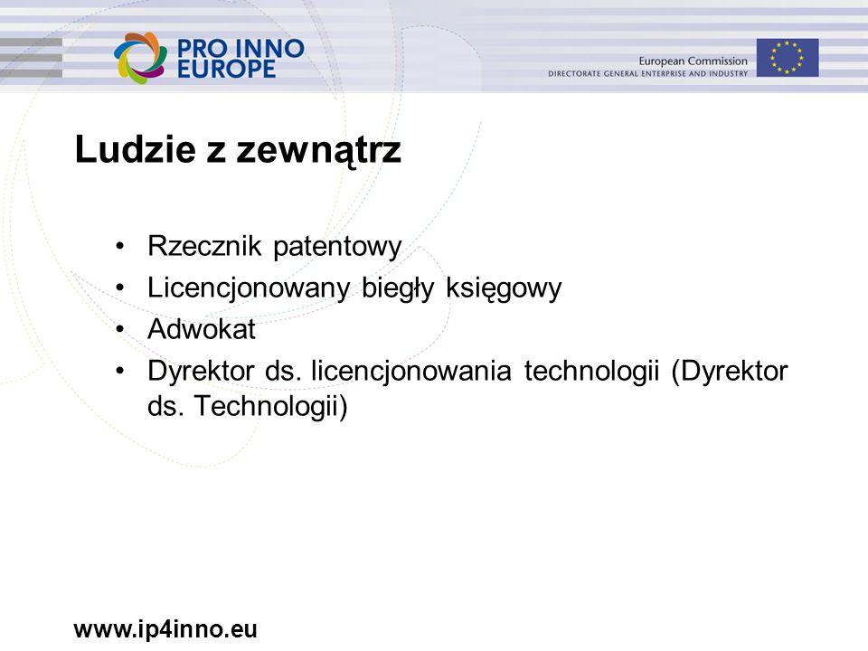 www.ip4inno.eu Rzecznik patentowy Licencjonowany biegły księgowy Adwokat Dyrektor ds. licencjonowania technologii (Dyrektor ds. Technologii) Ludzie z