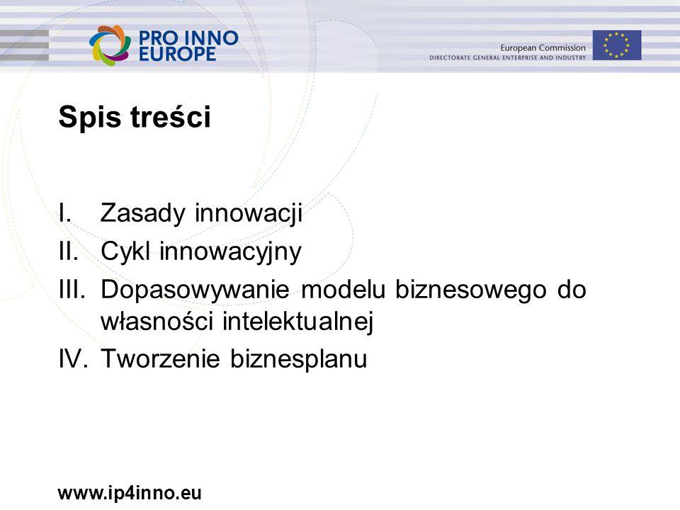 www.ip4inno.eu Spis treści I.Zasady innowacji II.Cykl innowacyjny III.Dopasowywanie modelu biznesowego do własności intelektualnej IV.Tworzenie biznes