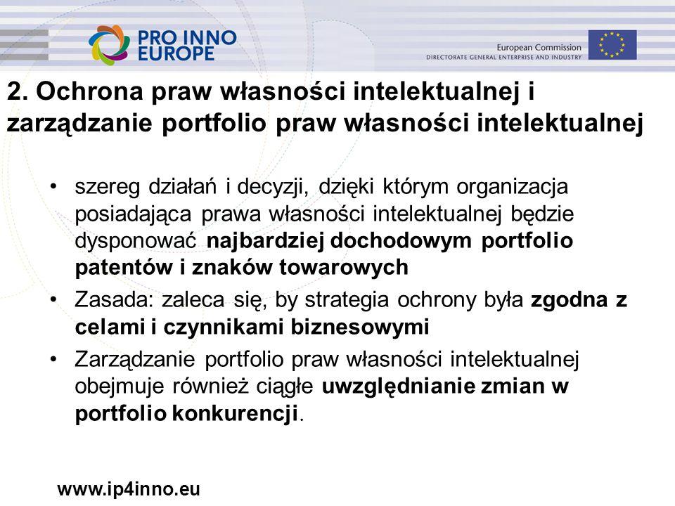www.ip4inno.eu 2. Ochrona praw własności intelektualnej i zarządzanie portfolio praw własności intelektualnej szereg działań i decyzji, dzięki którym