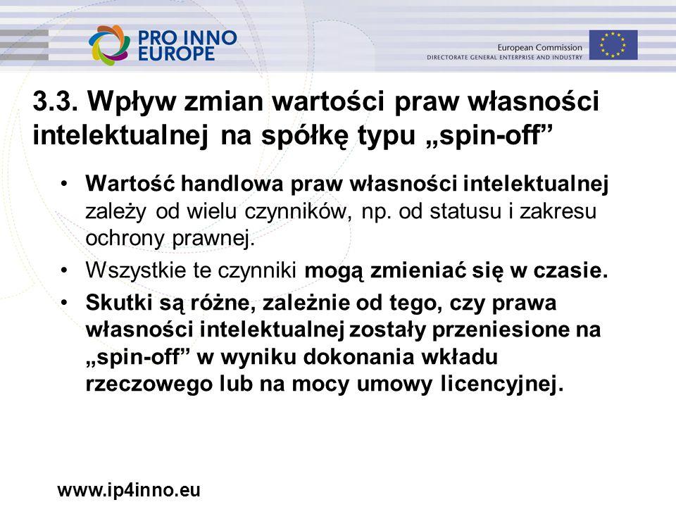 """www.ip4inno.eu 3.3. Wpływ zmian wartości praw własności intelektualnej na spółkę typu """"spin-off"""" Wartość handlowa praw własności intelektualnej zależy"""