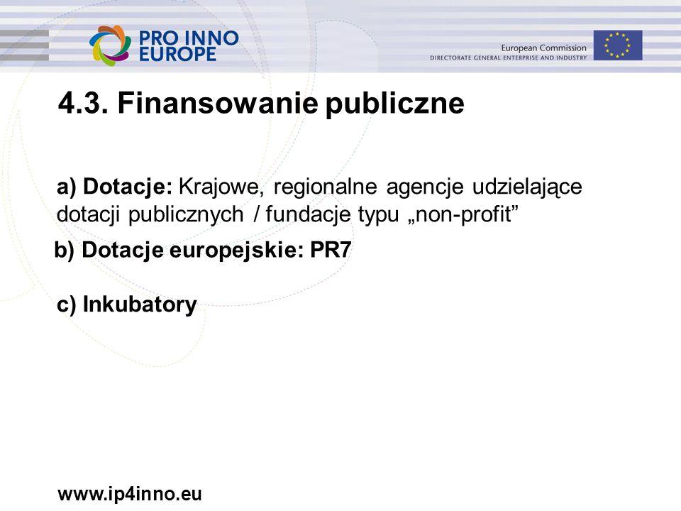 """www.ip4inno.eu a) Dotacje: Krajowe, regionalne agencje udzielające dotacji publicznych / fundacje typu """"non-profit"""" 4.3. Finansowanie publiczne b) Dot"""