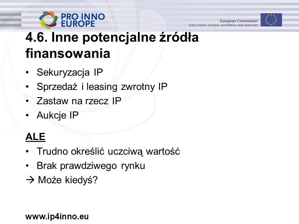 www.ip4inno.eu Sekuryzacja IP Sprzedaż i leasing zwrotny IP Zastaw na rzecz IP Aukcje IP ALE Trudno określić uczciwą wartość Brak prawdziwego rynku 