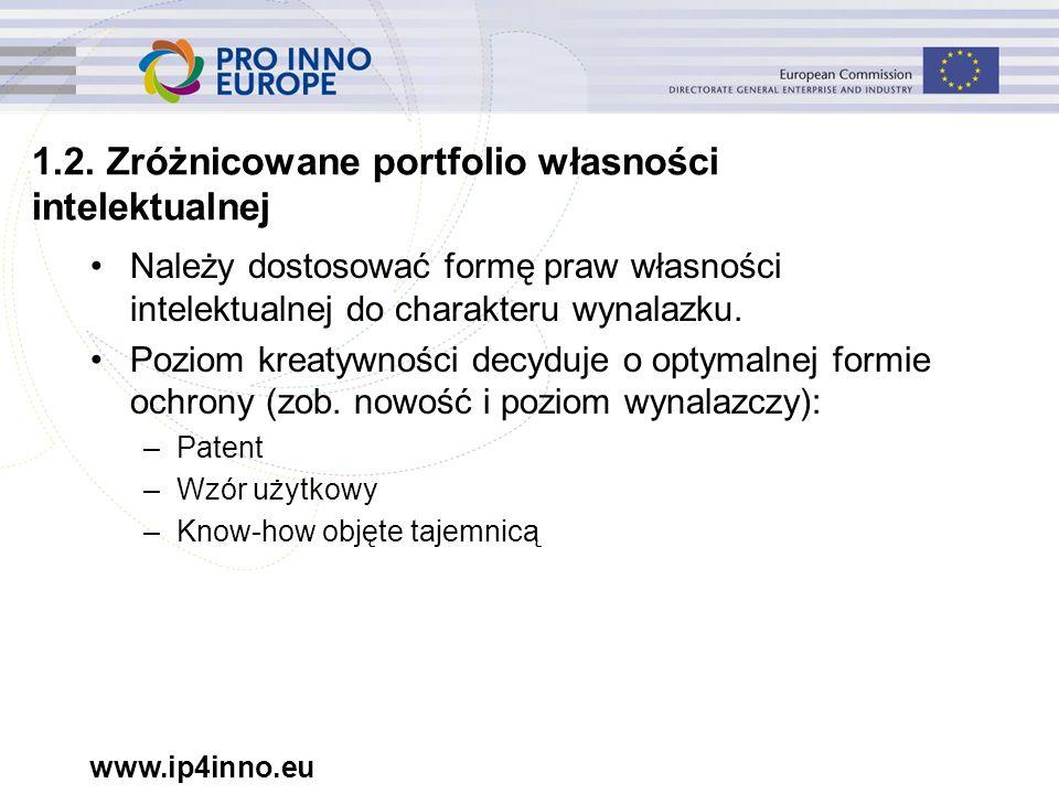 www.ip4inno.eu 1.2. Zróżnicowane portfolio własności intelektualnej Należy dostosować formę praw własności intelektualnej do charakteru wynalazku. Poz