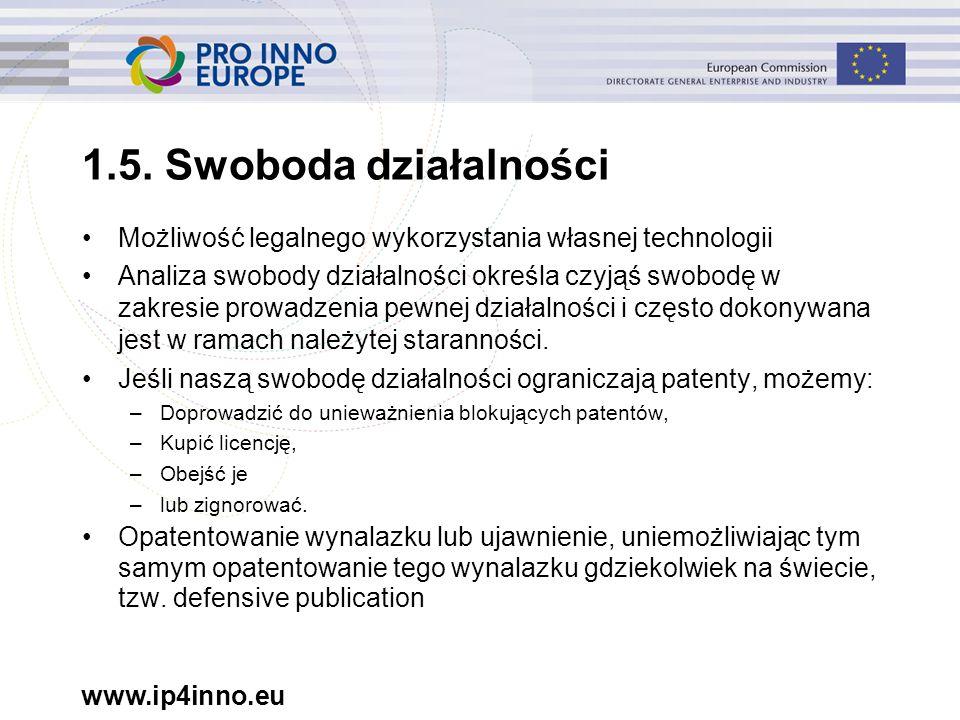 www.ip4inno.eu 1.5. Swoboda działalności Możliwość legalnego wykorzystania własnej technologii Analiza swobody działalności określa czyjąś swobodę w z