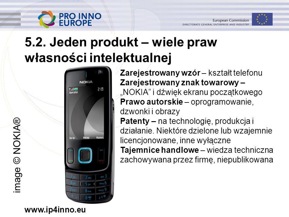 """www.ip4inno.eu 5.2. Jeden produkt – wiele praw własności intelektualnej Zarejestrowany wzór – kształt telefonu Zarejestrowany znak towarowy – """"NOKIA"""""""