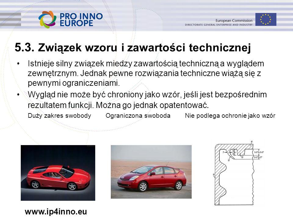 www.ip4inno.eu 5.3. Związek wzoru i zawartości technicznej Istnieje silny związek miedzy zawartością techniczną a wyglądem zewnętrznym. Jednak pewne r