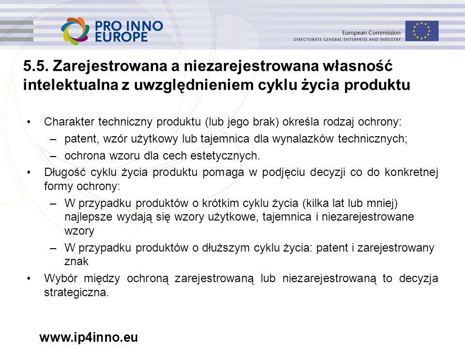 www.ip4inno.eu 5.5. Zarejestrowana a niezarejestrowana własność intelektualna z uwzględnieniem cyklu życia produktu Charakter techniczny produktu (lub