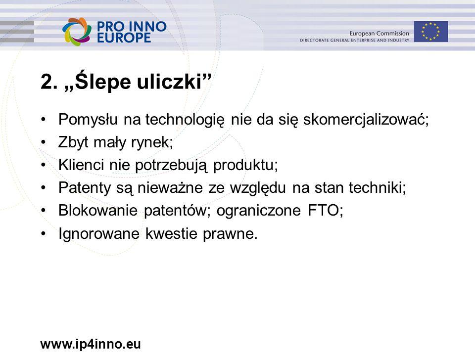 """www.ip4inno.eu 2. """"Ślepe uliczki"""" Pomysłu na technologię nie da się skomercjalizować; Zbyt mały rynek; Klienci nie potrzebują produktu; Patenty są nie"""