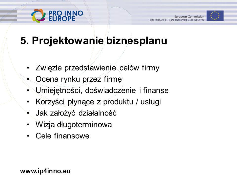 www.ip4inno.eu 5. Projektowanie biznesplanu Zwięzłe przedstawienie celów firmy Ocena rynku przez firmę Umiejętności, doświadczenie i finanse Korzyści