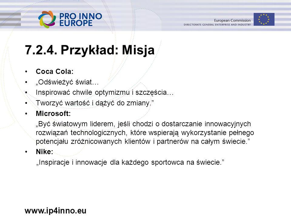 """www.ip4inno.eu 7.2.4. Przykład: Misja Coca Cola: """"Odświeżyć świat… Inspirować chwile optymizmu i szczęścia… Tworzyć wartość i dążyć do zmiany."""" Micros"""