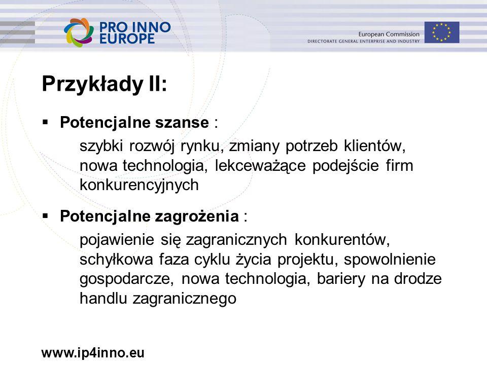 www.ip4inno.eu  Potencjalne szanse : szybki rozwój rynku, zmiany potrzeb klientów, nowa technologia, lekceważące podejście firm konkurencyjnych  Pot