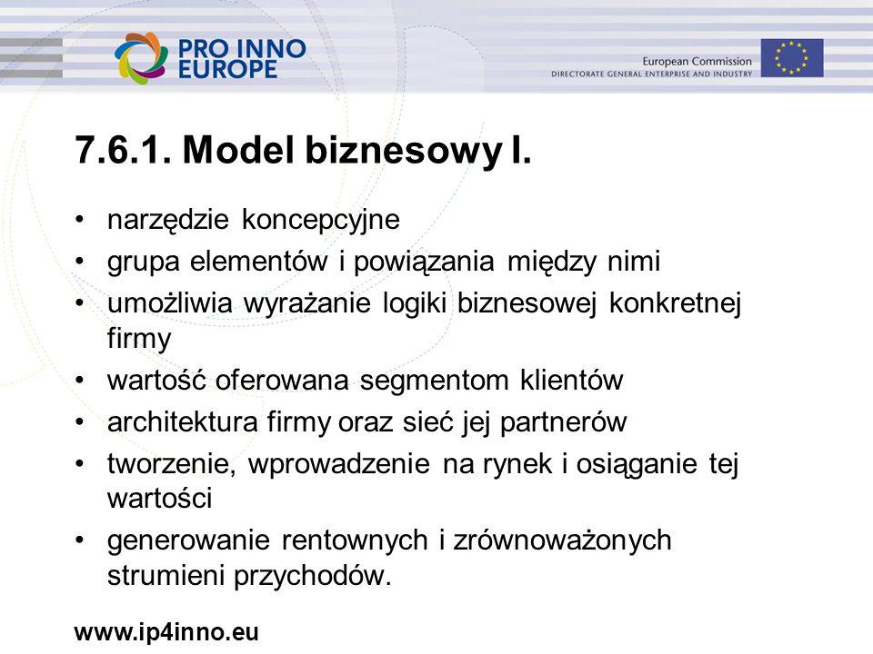www.ip4inno.eu 7.6.1. Model biznesowy I. narzędzie koncepcyjne grupa elementów i powiązania między nimi umożliwia wyrażanie logiki biznesowej konkretn