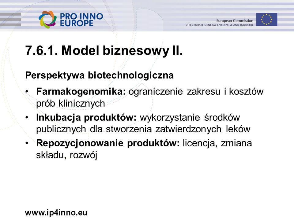 www.ip4inno.eu Perspektywa biotechnologiczna Farmakogenomika: ograniczenie zakresu i kosztów prób klinicznych Inkubacja produktów: wykorzystanie środk