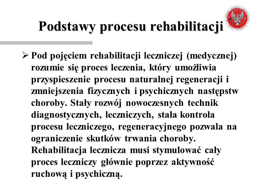 Podstawy procesu rehabilitacji  Pod pojęciem rehabilitacji leczniczej (medycznej) rozumie się proces leczenia, który umożliwia przyspieszenie procesu