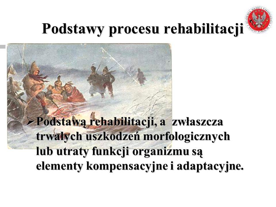 Podstawy procesu rehabilitacji  Podstawą rehabilitacji, a zwłaszcza trwałych uszkodzeń morfologicznych lub utraty funkcji organizmu są elementy kompe